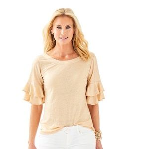 LILLY PULITZER | Lula gold ruffle top linen s